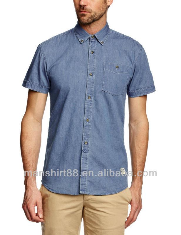 Slim Fit Short Sleeve Button Down Collar Casual Cowboy Denim Shirt ...