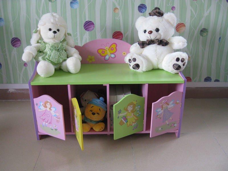 enfants en bois peint la main f e th me placard de rangement banc de cubbyhouse coffre. Black Bedroom Furniture Sets. Home Design Ideas