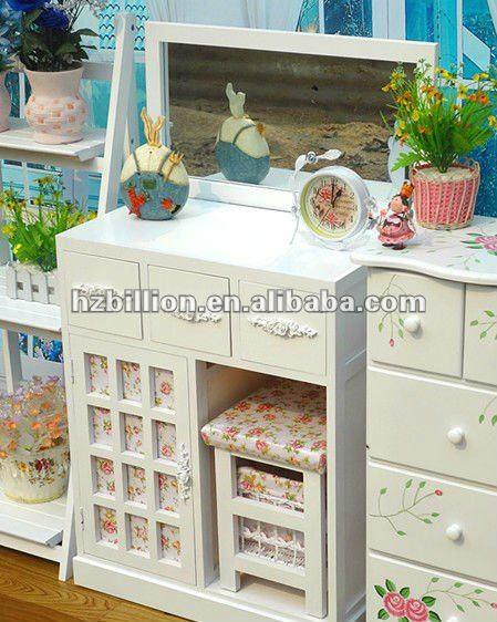 moderno tocador con espejo muebles de dormitorio en blanco