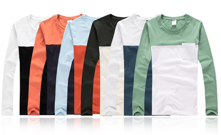 Men Long Sleeves Collar Pocket Men T-shirt In Different Color ...