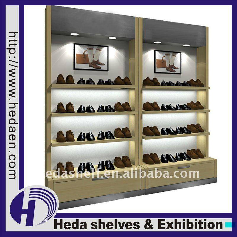 Wooden Shoes Display Rack Retail Shoe Shelf