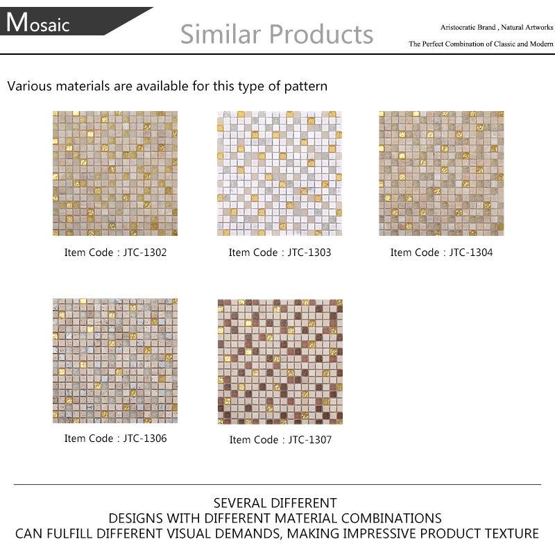 Ljo Jtc1307 Brown Golden Glass Mosaic Mix Natural Stone
