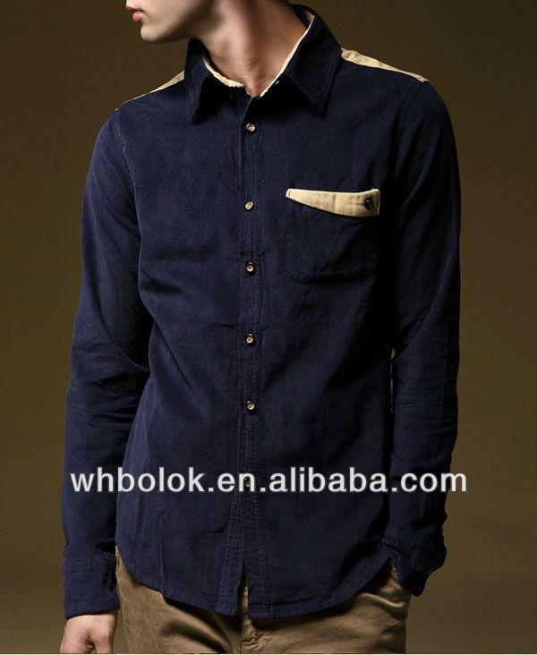a760f117c Custom logo Mens shirt pocket design corduroy long sleeve designed shirt