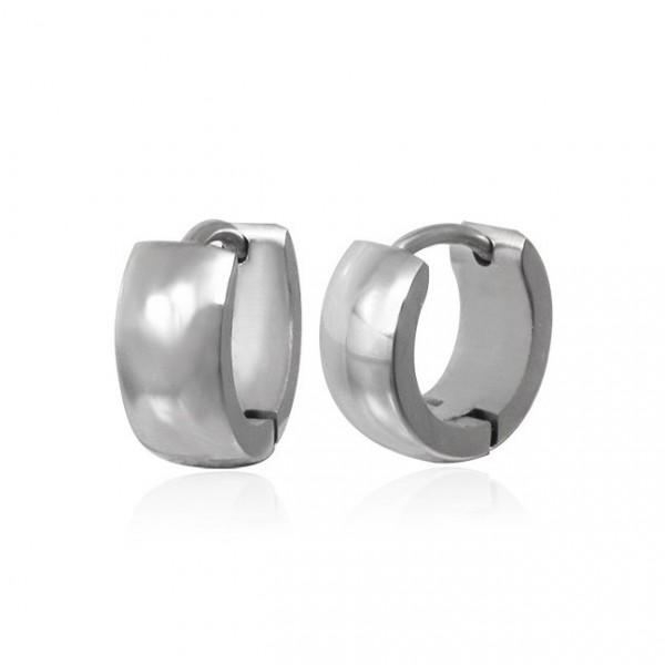 Men S Black Stainless Steel Hoop Earrings Tribal Design