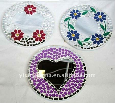 mosaico espejo de cristal con patrn de flor