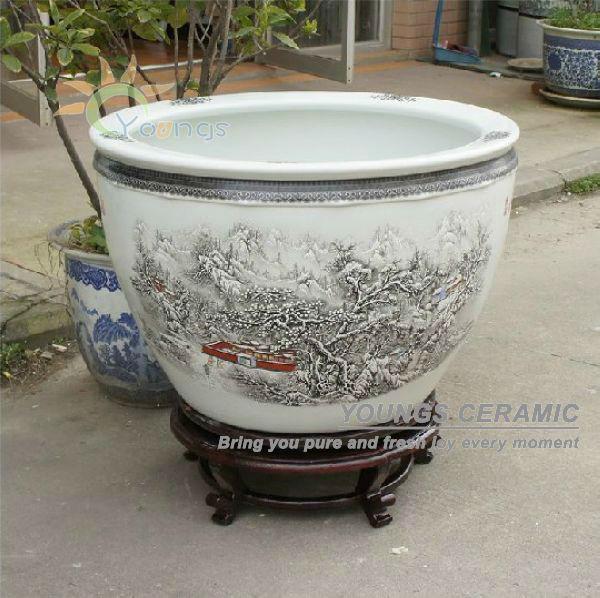 Amazing Large Ceramic Pots For Sale Part - 10: Retail Big Completely Weatherproof Porcelain Ceramic Fish Pot And Garden  Planter Pot