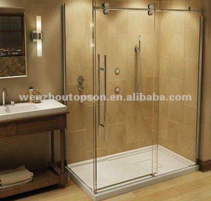 rectangular vidrio templado sin marco puerta corredera de ducha y ducha particin