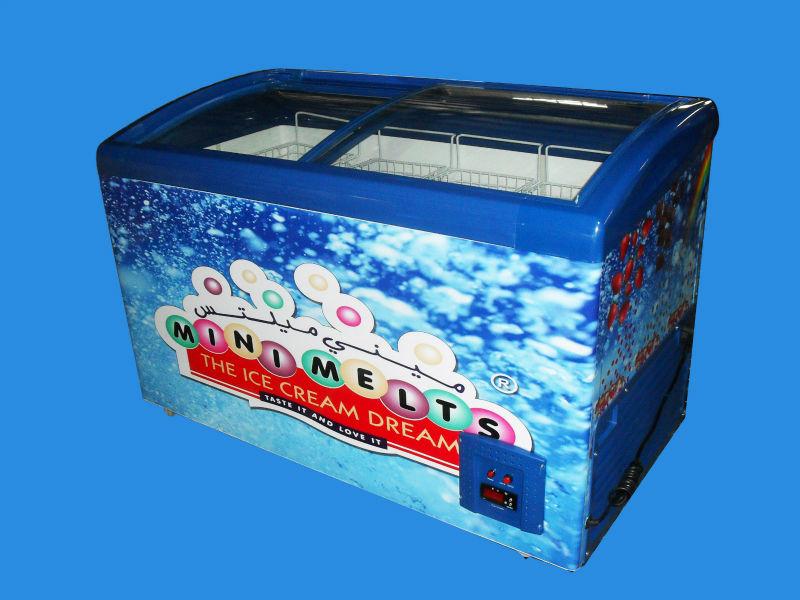 Refrigerators freezer on the bottom fridge on top with double doors - 45 Low Temperature Curved Sliding Glass Door Freezer Dw