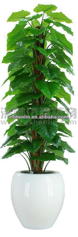 potted green plant,4ft decorative big leaf plant,artificial taro