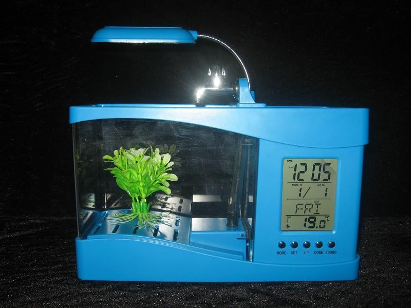 Usb Acryl Mini Aquarium Aquarium Led-beleuchtung Licht Mit Wecker Für  Wohnzimmer Schlafzimmer Schreibtisch Dekoration Zubehör - Buy Usb Acryl  Mini ...