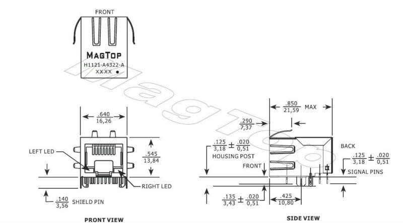 smd rj45 magjack  module  ethernet connector manufacturer