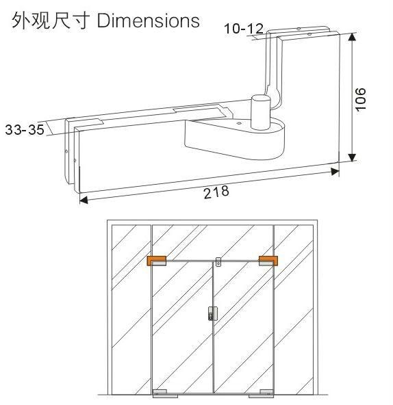 Glass door overpanel corner L patch fitting \u0026 door cl& YG-7040