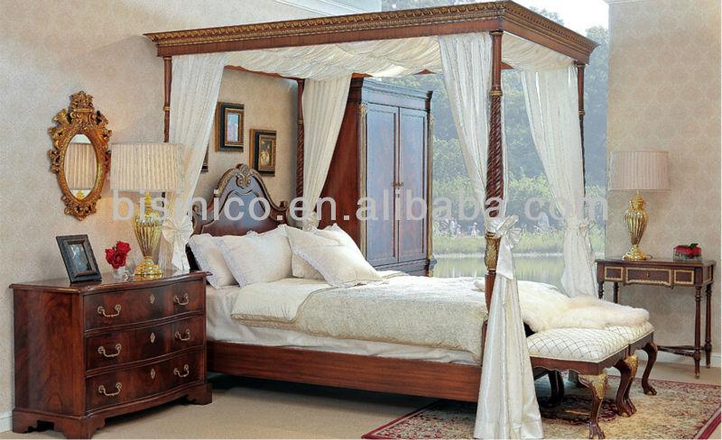 Jahrhundert Windsor Stil Schlafzimmersatz, Luxus Himmelbett Holz Himmelbett,  Palast Königlichen Schlafzimmer