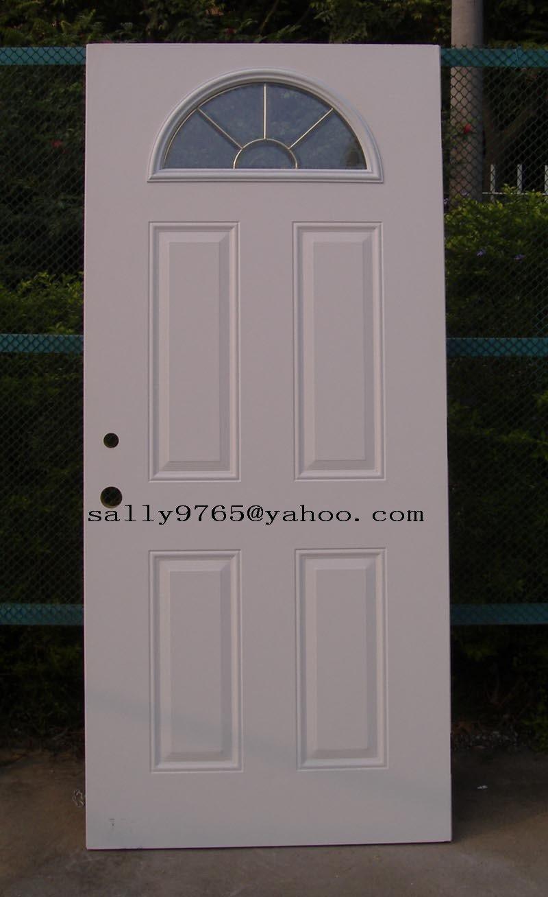 Sunburst Glass 4 Panel Steel Door Tempered Glass Steel