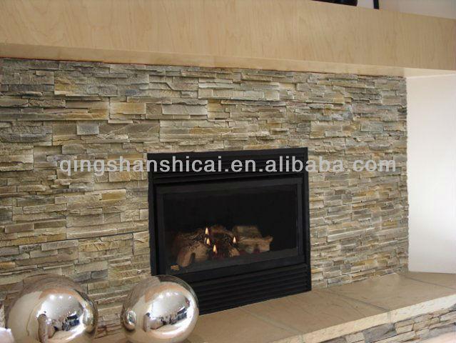 Grey Slate Stacked Wall Coating Stone Veneer Brick Tiles Interior Decorative Walls