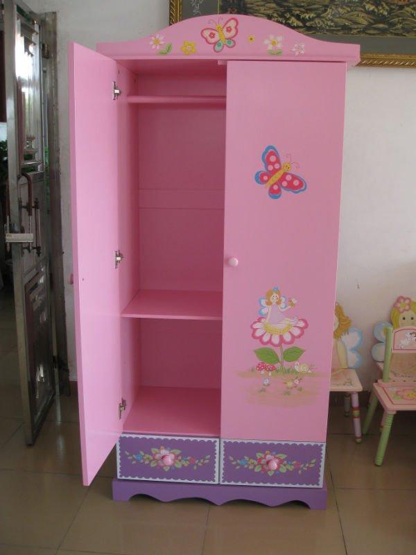 Colourful Wooden Children Bedroom Wardrobe For Storage