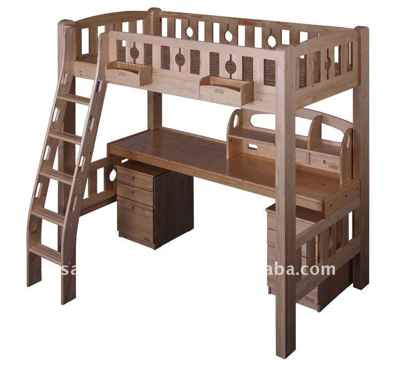 Habitaci n conjunto ni os madera loft cama litera con for Letto matrimoniale a soppalco mondo convenienza