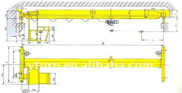 Overhead Cranes Dimensions : Single beam motor driven traveling overhead crane bridge