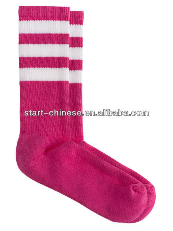Men's Cotton Pink White Calf-high Cotton Striped Sporty Socks/Striped UK Football  Socks - Men's Cotton Pink White Calf-high Cotton Striped Sporty Socks
