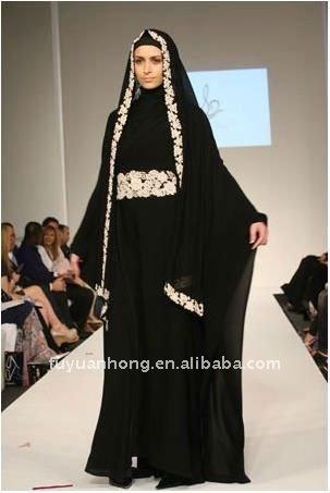 Noir À La Mode À Manches Longues Femmes Musulmanes Robe/FYH,CFR005
