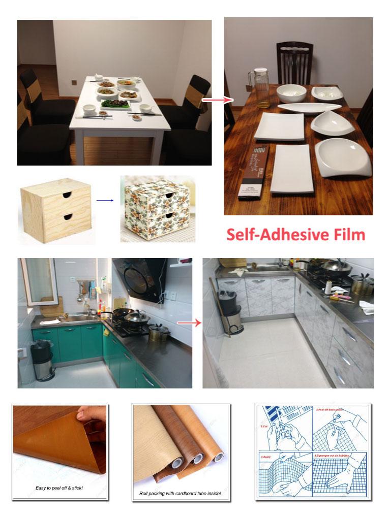 Removable Self Adhesive Wood Grain Vinyl Film Paper Wall Sticker ...