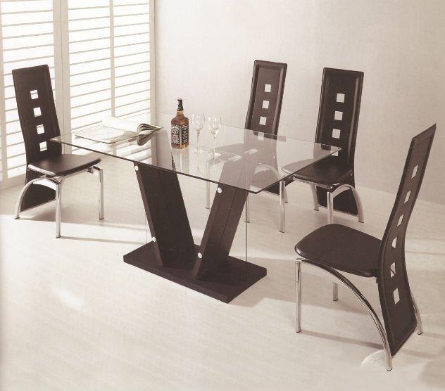 Muebles de comedor moderno venta caliente mdf y vidrio Juego de comedor 4 sillas moderno