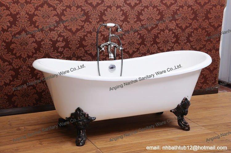 Vrijstaande dubbele slipper gietijzer bad op leeuw voeten buy product on - Klein design badkuip ...