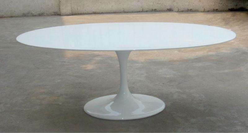 Elliptique ovale tulipe en fiber de verre marbre table for Replique mobilier design