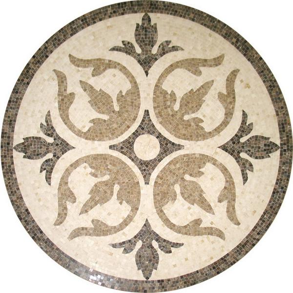 Marble Mosaic Tile Round Medallion Floor Patterns Flower Pattern