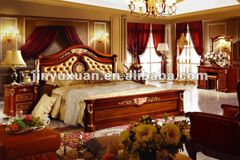 Europea cl sica muebles juego de dormitorio cama king size for Cama king size de madera
