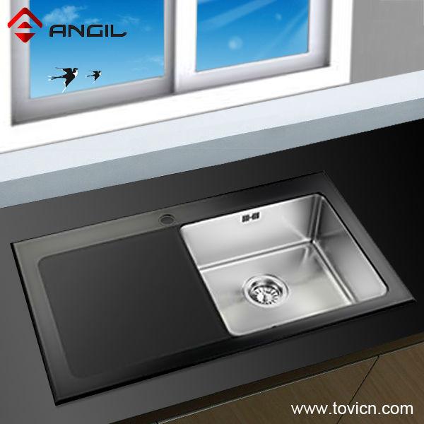 stainless steel corner kitchen sink with glass panel - Glass Sink Kitchen