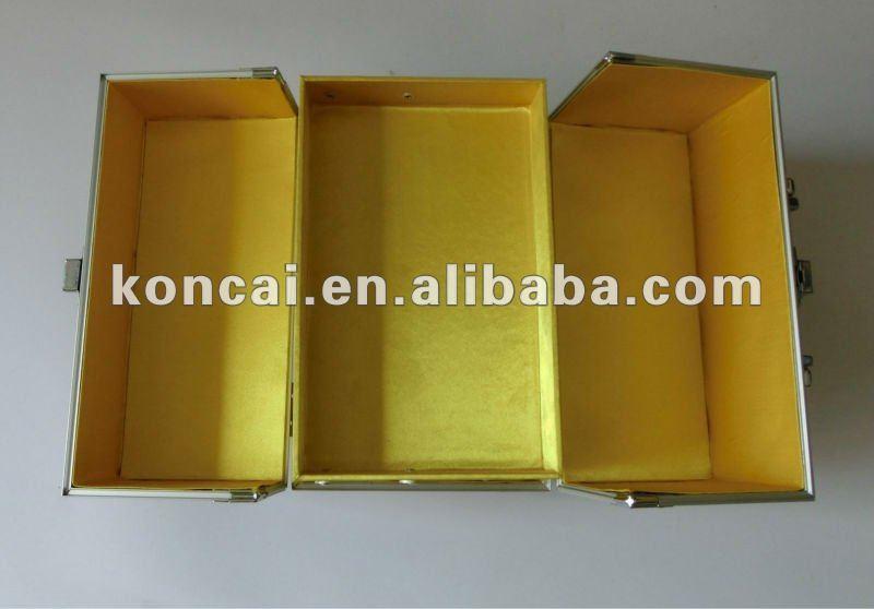 micro-shinny PVC Silver makeup cases ,aluminum makeup case 3