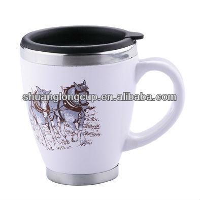 14 Oz Starbucks Ceramic Outer Coffee Mug With Push Lid