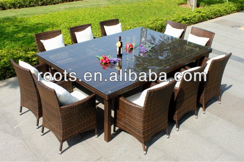 Outdoor Wicker Dining Setting Glass Teak Rattan Furniture Set New Dining Tabl