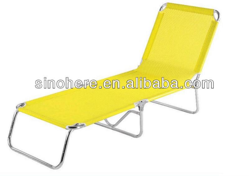 Aluminum folding beach lounge chaise lounge with pvc mesh for Beach chaise lounge folding