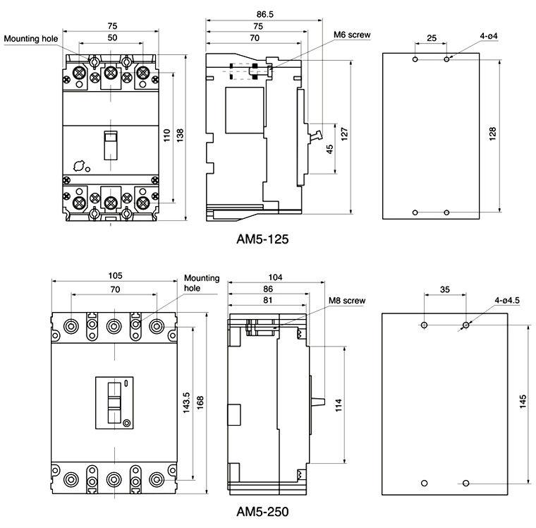 AM5 Series moulded case circuit breaker 3 pole mccb 3p 100a mccb ...