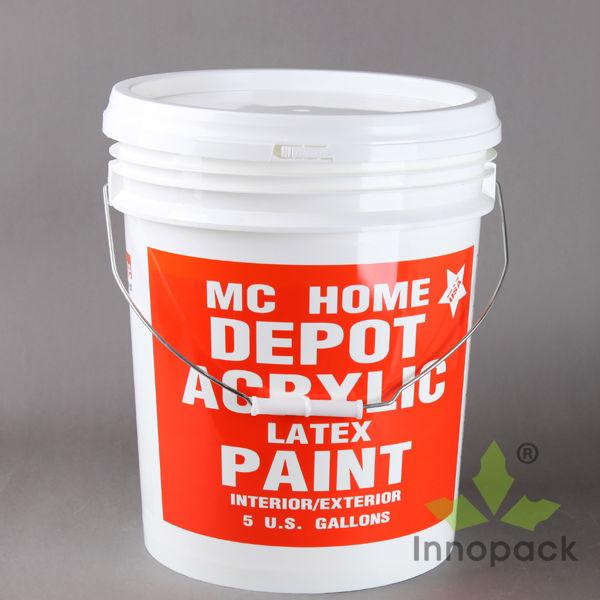 5 gallon bucket dimensions printed plastic paint bucket