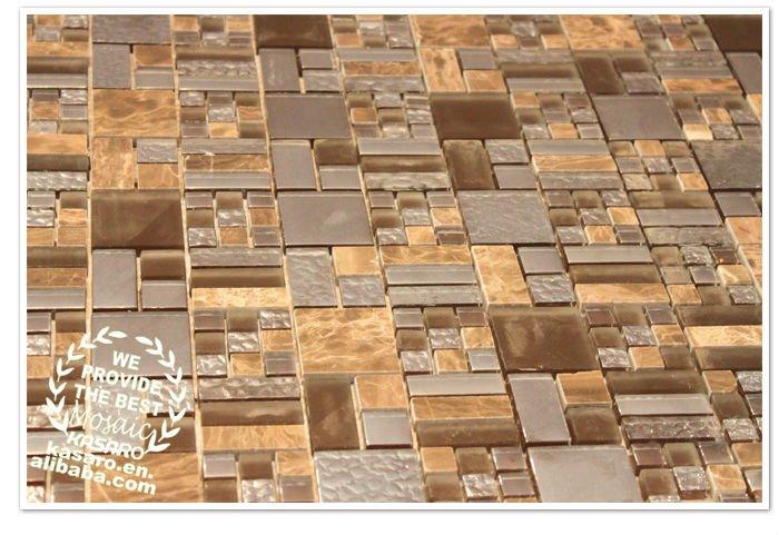 Mix di vetro mosaico di pietra piastrelle pavimento del