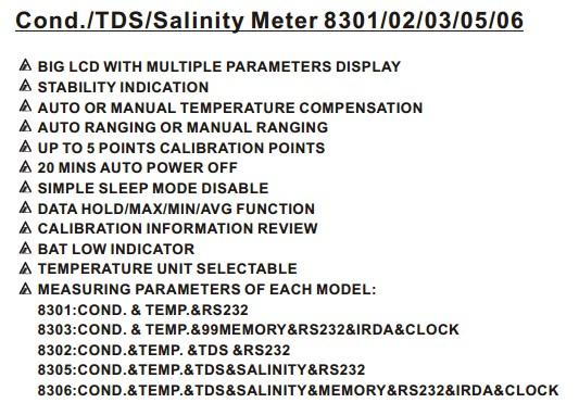 AZ8306 Conductivity Meter Multi Display Conductivity / TDS / Salt and Temp Automatic Temperature Compensation