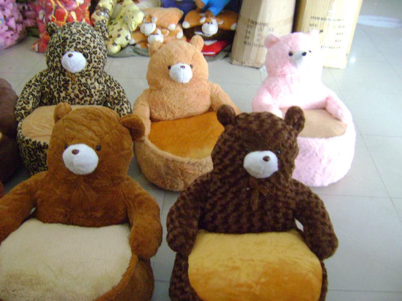 Stuffed Brown Bear Chair Soft Stuffed Animal Chair Cute Critter Sofa Chair  For Kids