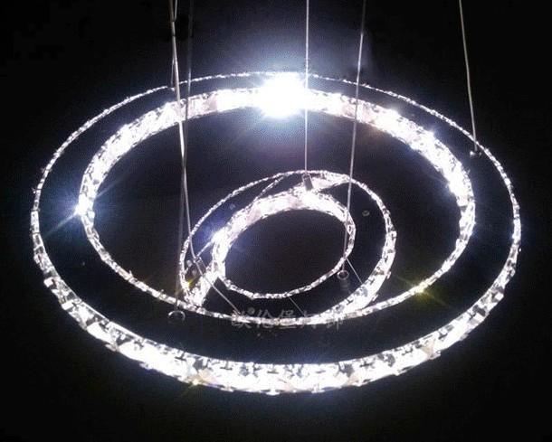 moderne led 2 ebenen runde kristall pendelleuchte diamantring deckenleuchte beleuchtung. Black Bedroom Furniture Sets. Home Design Ideas