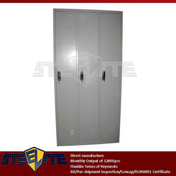 Kids Slim 3 Tier Metal Wardrobe Closets Locker Shelves/white And Green 3  Door Steel