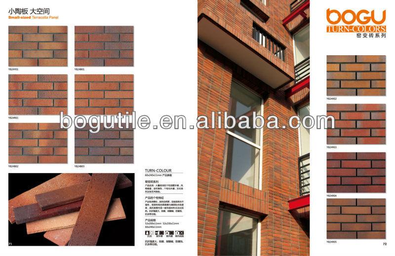 60x240mm Clinker Tile Brick Veneer Fire Brick Exterior Thin Brick Interior  Walls