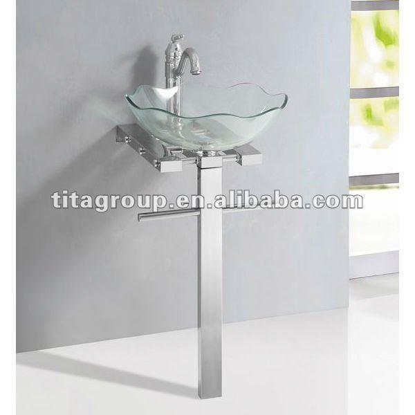 cristal lavabo soporte con base de acero inoxidable