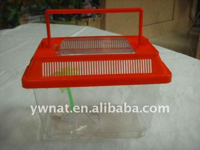 Free sample mini plastic aquarium fish tank with cover and for Small plastic fish