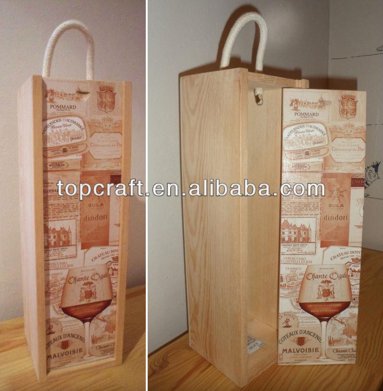 caja de madera del vino sola botella porta vasos decorados ocasiones regalo etiqueta