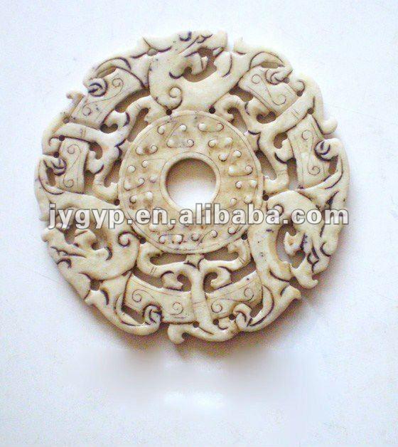 Chinese White Jade Dragon Carving,Jade Piece,Jade Bi