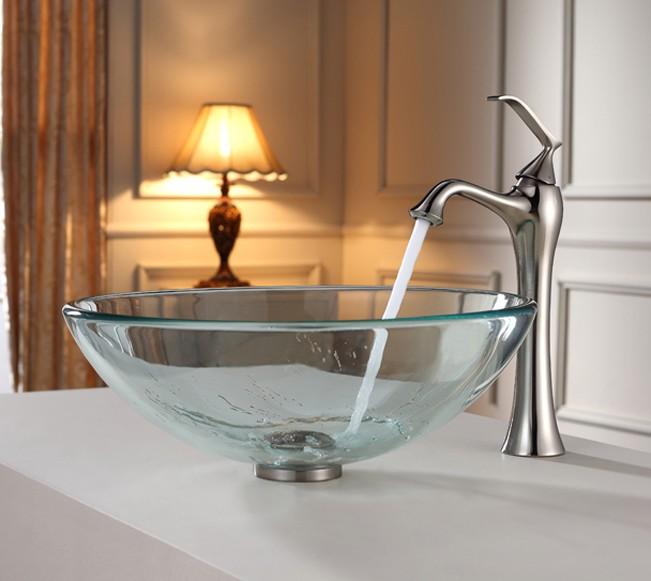 Soup Basin Glass Vases Fish Bowl Wood Under Basin Bathroom