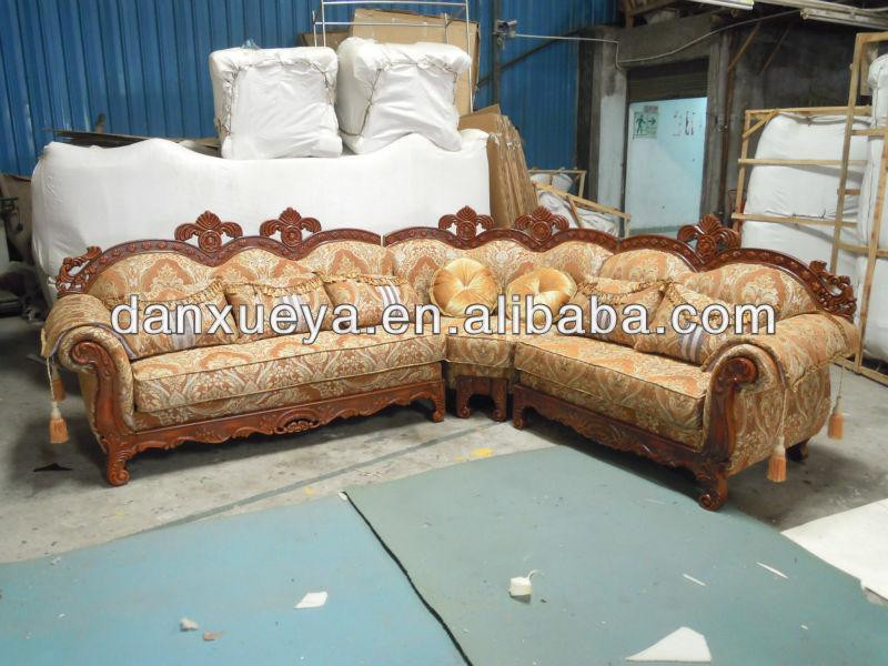 European Classic Wooden Carved Fabric Sofa L Shape Sofa Cum Bed ...