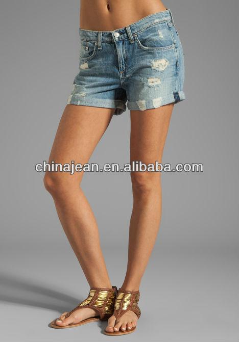 2015 Boyfriend Ripped Denim Shorts For Women (jx2303) - Buy ...